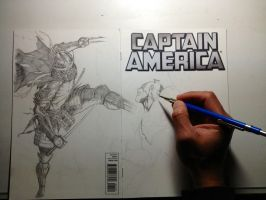 Shredder vs Captain America WIP by Ace-Continuado