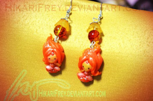 Flame Princess Earrings- AT commission by HikariFrey