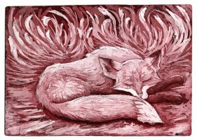 Sleeping fox, still looking for right color by ZyriFrost