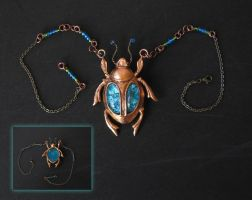 Copper Scarab with an oceanic touch by BringBackTheDodo