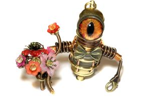 Steampunk Robot Minion with Uranium Flowers by CatherinetteRings