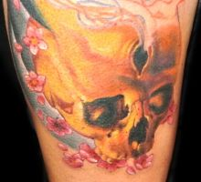 skull with cherry blossoms by KisBrigi