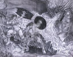 Conan and Red Sonja vs. a dragon by jey2dworld