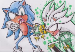 Sonic vs. Silver Colored by 1BetaOne