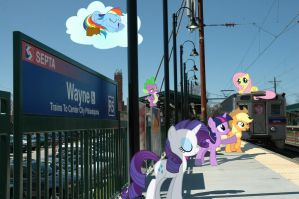 Ponies at SEPTA R5 Station in Wayne, Pennsylvania by RedCard94