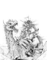 Fantasy Bizantium cover pencils by ChuckWalton