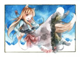 holo the wise wolf watercolour by Chase-DEVIL-Weaver