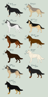 German Shepherd Dog Adoptables batch1- CLOSED by Nekno-Designs