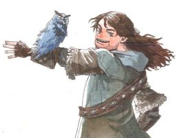 Kili in Hobbit with Blue Owl by soodal