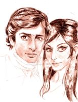 Shashi Kapoor and Sharmila Tagore by amanda-simatupang