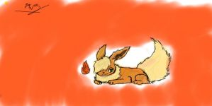 My First drawing with a Tablet-Flareon! by Bluebird9209