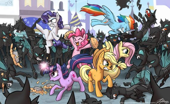 Mane 6 vs The Changelings by johnjoseco