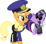 Colonel Applejack and Commander Twilight by GameMasterLuna