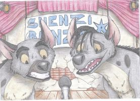 Shenzi and Banzai: What? We shall sing? :) by TheHyenaintown