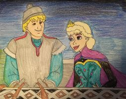 Elsa x Kristoff Sleigh Scene AU by Lea Voegeli by CaptainMockingjay