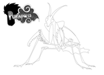 Praying Mantis Line Art by purapuss