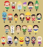 CHIBI--Disney Character Alphabet by kanitted