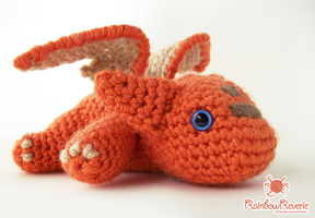 Orange Baby Dragon Amigurumi by RainbowReverie