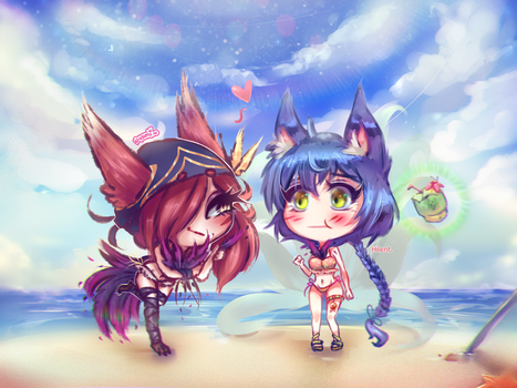 [Collab] Pool Party Chibi~ by Nyami-desu