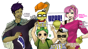 (Belated) Nuzlocke New Year Gijinka Greetings by Auddits