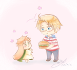 Want a Burger, lil' dude? - APH by Tsukiakari-Aya