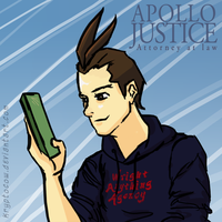 Apollo Justice stares at a movie by kryptocow