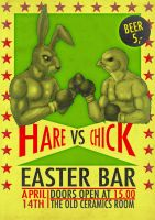 Hare vs chick easter bar by Lundsfryd