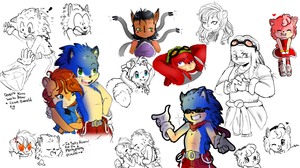 Anthro Sonic Characters (some now colored) by LilRedGummie