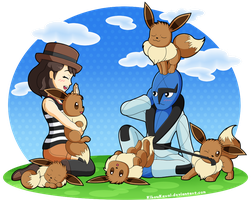 Pokemon X and Y - Me, Sawk and the eevees by CutyAries