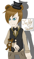 Human Freddy with Freddy plushie ^^ by LeslieElena19