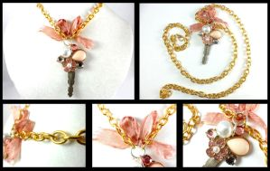 Vintage Pearl Flower Crystal Key Gold Necklace by DryGulchJewelry
