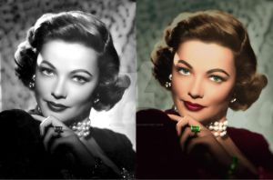 Gene Tierney before and after colorization by ThinkingKind