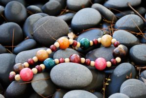 Vintage Multicolored Wood Bead Necklace by thumbelyna