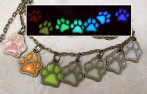 Glow in the Dark Rainbow Paw Necklace by heatbish