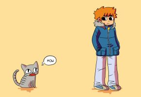 Scott Pilgrim vs. Gideon the Cat by risaaa
