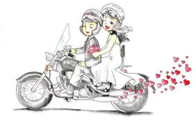 Motorcycle Marriage by GisaPizzatto