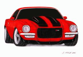 1972 Chevrolet Camaro Z28 Pro Touring Drawing by Vertualissimo