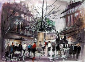 Paris rain in watercolour by ricardomassucatto