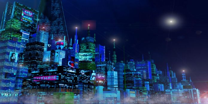 skyline by night by scifilicious