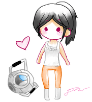 Chell chibi + Wheatley by xxInvaderDanixx