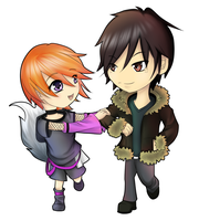 Commission: Izaya and Kitkat by NIkly