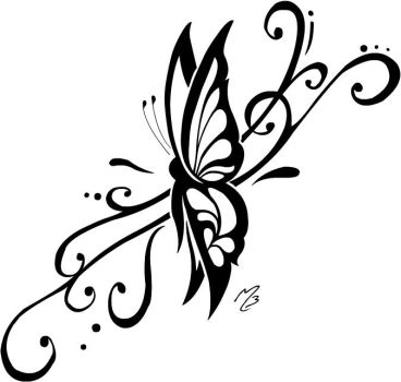 Tribal Butterfly Tattoo by IsometricPixel