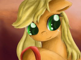 Applejack brushing her mane by Ardail