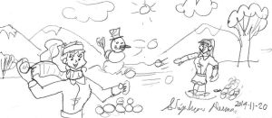 Snowball fight with Lita and Kairi by stephdumas