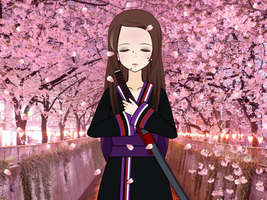 Cherry blossoms falling on me by DarkQueenFrigga