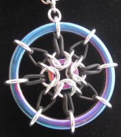Chainmaille Rainbow Hematite Compass Pendant by keesadore