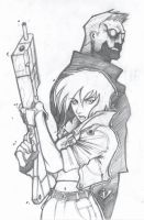 Kusanagi and Batou by arsenalgearxx