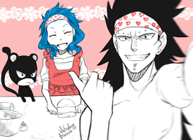 Gajeel, Levy and Lily - selfie by WhitedoveHemlock