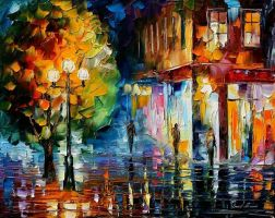 City oil painting on canvas by L.Afremov by Leonidafremov