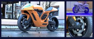 3d motorcycle and background, rendering by MatiasMurad